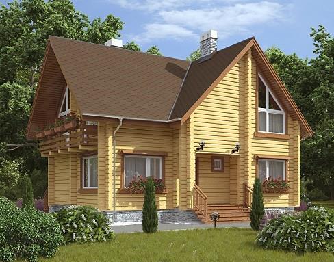 Дом из бруса 9,6х10,8 Проект Б-72
