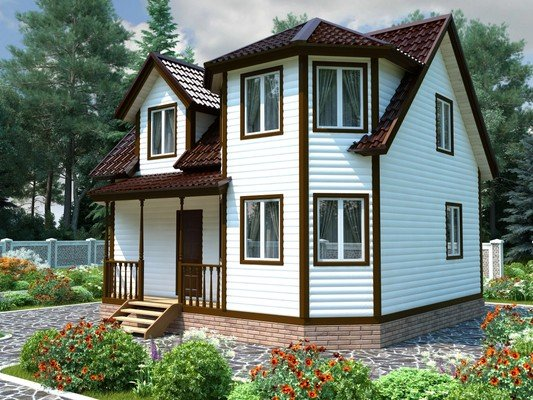 Каркасный дом 7×8 Проект KД-02