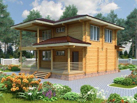 Дом из бруса 9,5х9 Проект БД-17