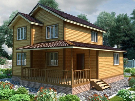 Дом из бруса 8,5х9,5 Проект БД-19
