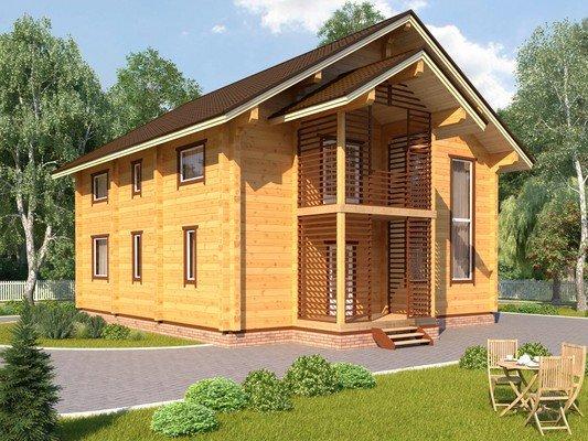 Каркасный дом 10.8×12.8 Проект KД-49