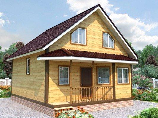 Дом из бруса 7,5х7,5 Проект БД-63