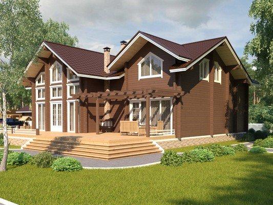 Дом из бруса 17,6х15,6 Проект БД-69