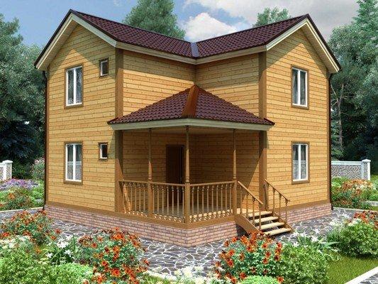 Каркасный дом 7,5×8 Проект KД-73