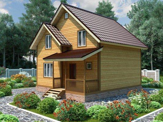 Дом из бруса 7,5х8,5 Проект БД-76