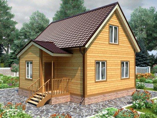 Каркасный дом 7,5×8 Проект KД-84