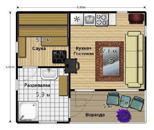 Сауна с комнатой отдыха планировка